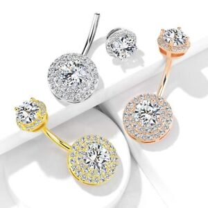 10X 20X 50X LOT CLASSIC CLEAR DOUBLE GEM STEEL BARBELLS NAVEL BELLY BUTTON RINGS