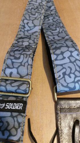FREE USA SHIPPING! Soldier 2002 Nylon//Cotton Guitar Strap in GREY CAMO!