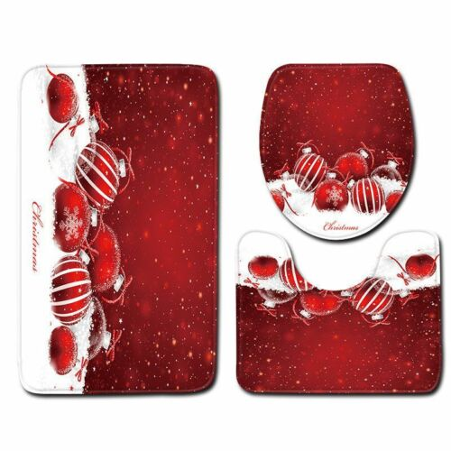 Christmas Bathroom Mat Xmas Ornament Cover Set Home Decor Toilet Seat