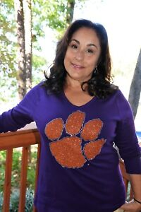 881a7a36f Image is loading Clemson-Tigers-rhinestone-bling-shirt-XS-5X-Licensed-