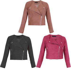 New-WOMEN-Suede-Look-Size-Zip-CLASSIC-Ladies-BIKER-JACKET-Coat-6-14-UK