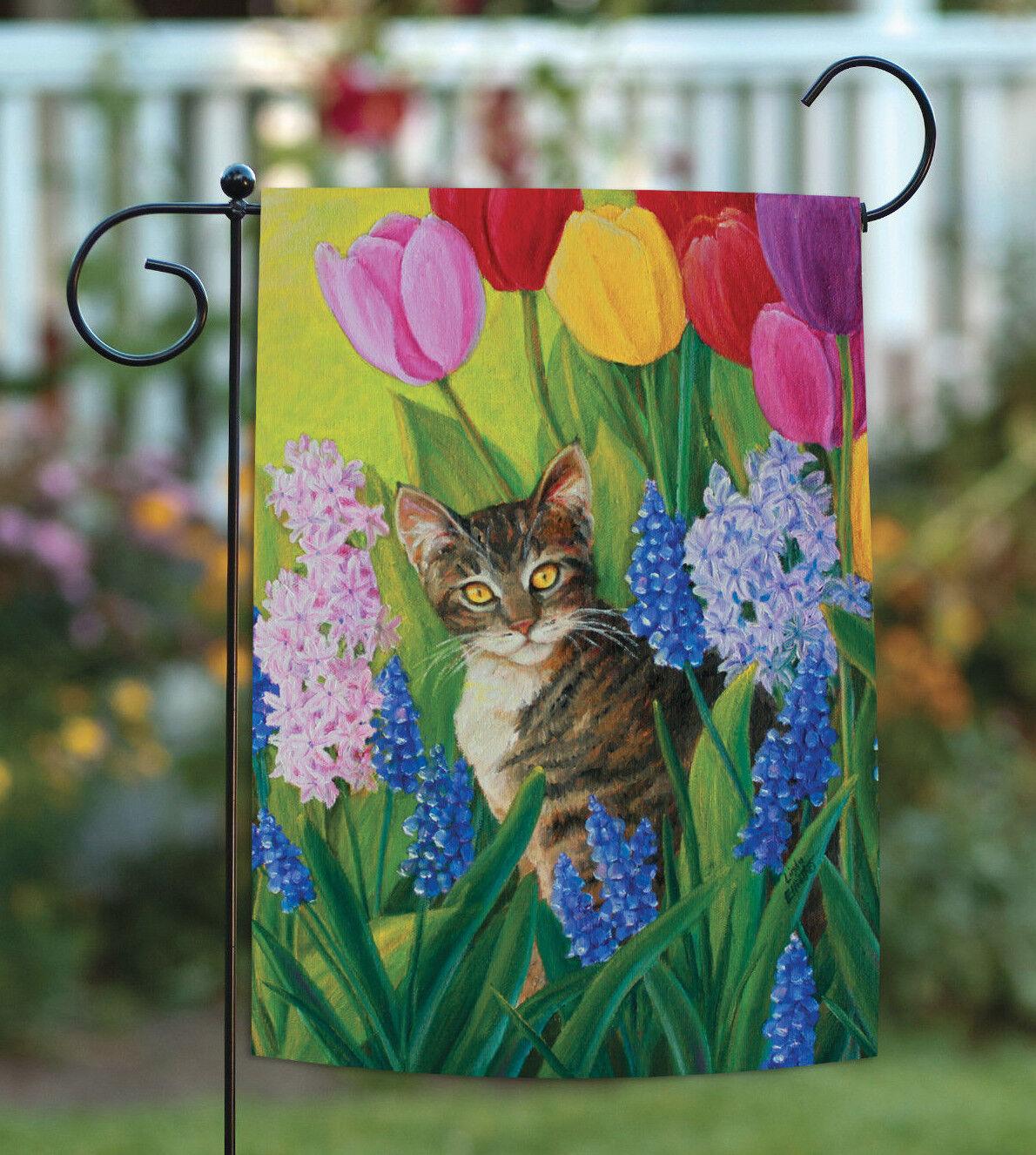 Toland Spring Garden Flag Tomcat Tulips Golden Eyed Cat 12 5x18 For Sale Online Ebay