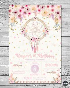 Image Is Loading DREAM CATCHER INVITATION BOHO TRIBAL BIRTHDAY INVITE 18TH