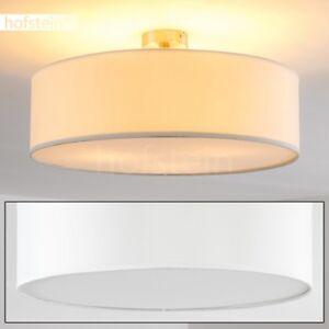 Plafonnier-Lampe-a-suspension-blanche-Lustre-Lampe-de-sejour-ronde-Metal-Tissu