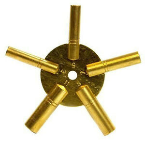 New ODD Number Universal Brass Clock Key for Winding Clocks 5 Prong *US SHIPPER*