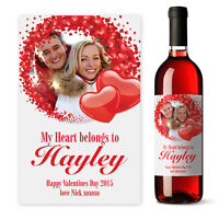 Personalised Photo Valentines Day Hearts Wine label gift