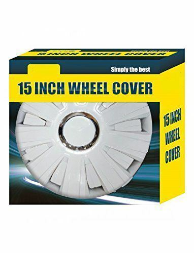"""4x  White Wheel Trims Hub Caps 15/"""" Covers fits Ford Vauxhall Astra H Corsa D"""