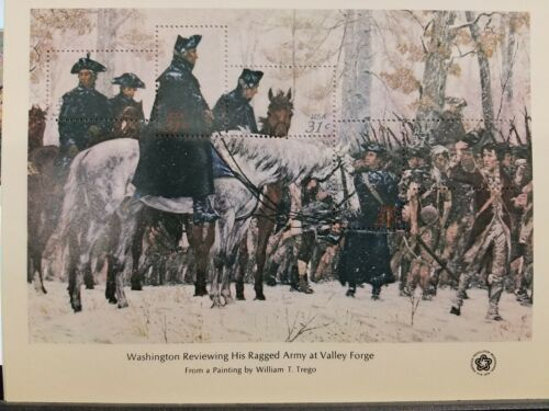 US BICENTENNIAL SOUVENIR SHEET-  WASHINGTON REVIEWING HIS ARMY AT VALLEY FORGE