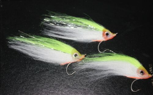 Saltwater Fishing Fly Baitfish Minnow Black Chartreuse Bass Pike