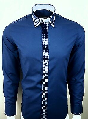 MENS DOUBLE COLLAR WITH STRIPE LONG SLEEVE FORMAL SHIRT WAS £29.99 TO 16.99(254L