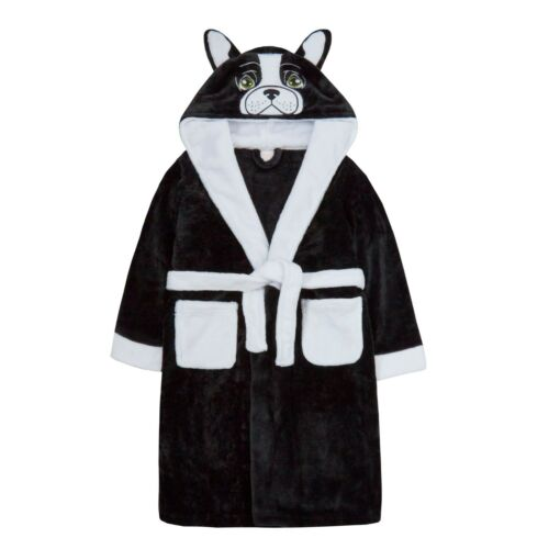 Childrens Boys Dressing Gown Novelty Hooded  Super Soft Coral Fleece 2-13 years