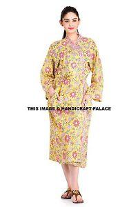 Long Women Kimono Robe Floral Print Yellow Dress Gown Plus Size