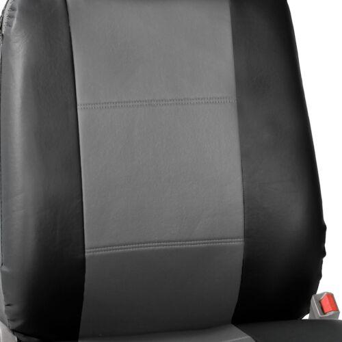 Seat Covers PU Leather Full Set For Built In Seat belt Car Sedan SUV Gray Black