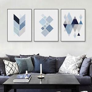 3PCS-Modern-Abatract-Blue-Geometric-Shape-Canvas-Art-Print-Poster-Wall-Pictures