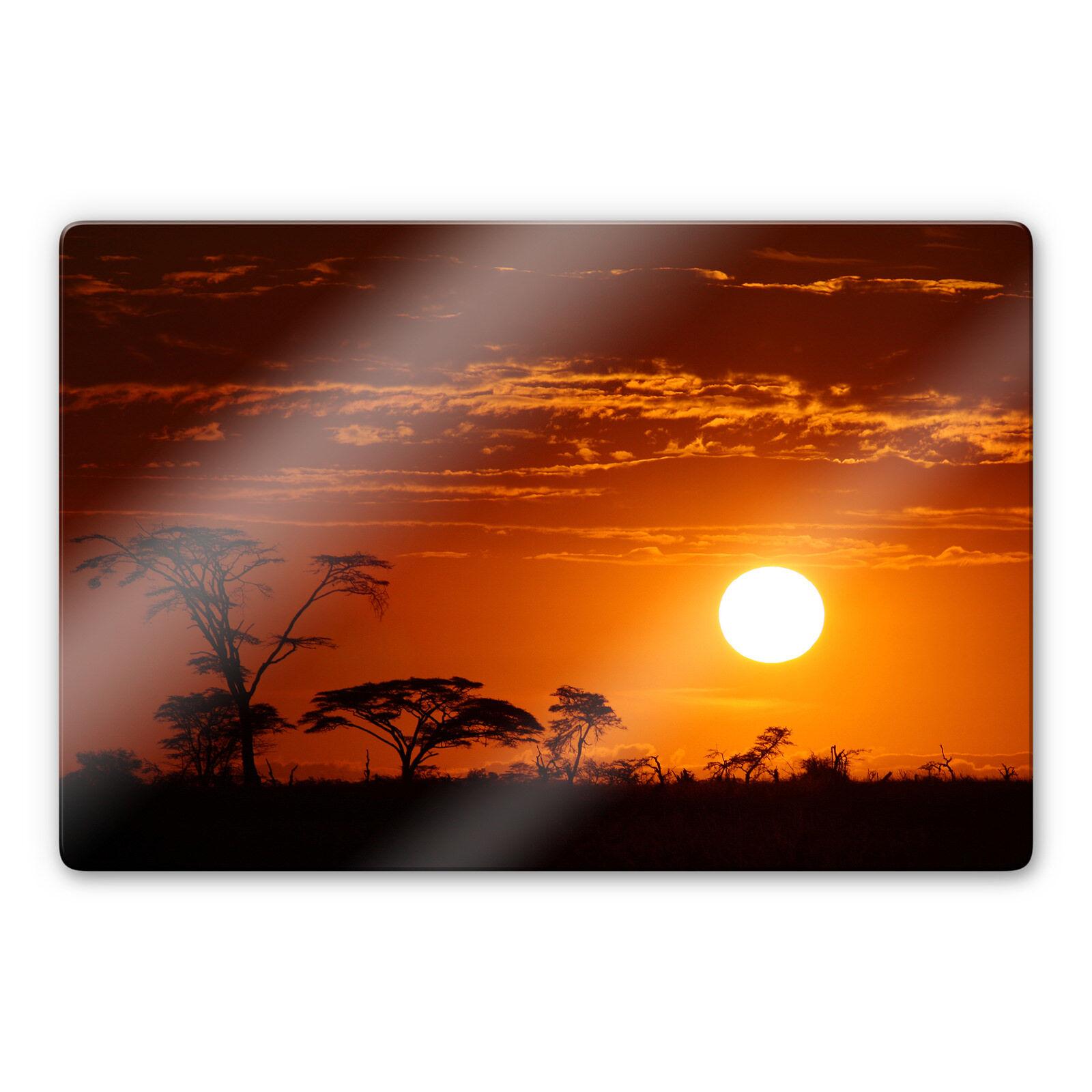 Glasbild Afrikanische Steppe Orange WANDBILD 4mm ESG Sicherheitsglas DEKO