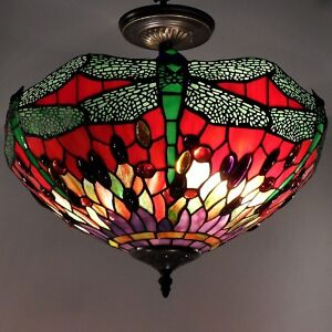 ceiling light fixture tiffany style stained glass shade. Black Bedroom Furniture Sets. Home Design Ideas