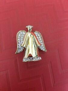 Vintage Monet Brooch Angel Rhinestone Goldtone Pin