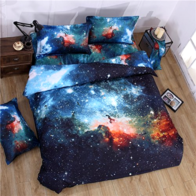 4f85be0768 Cliab Galaxy Bedding for Kids Boys Girls Queen Size Outer Space Duvet Cover  Set