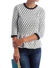 Anthropologie DV Dolce Vita Black White Crochet Peplum Top faux leather M L Ceri