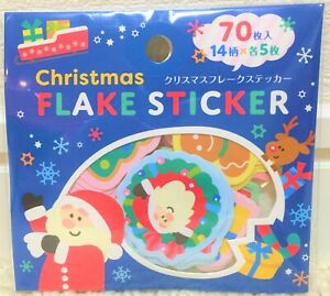 Kawaii Merry Christmas Flake Sticker 70 Santa Snowman Animal Reindeer Tree JAPAN