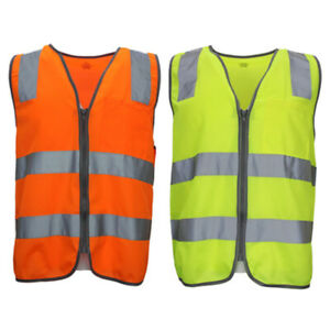 Hi-Vis-Safety-Vest-Reflective-Tape-Zip-Up-Workwear-Pocket-Night-High-Visibility