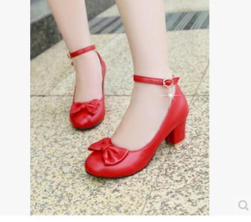 Plus Sz 35-45 Women/'s Sweet Bowknot Ankle Strap Lolita Chunky Block Heels Shoes