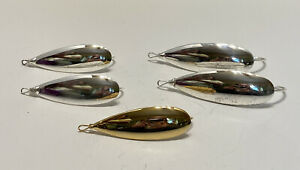 Vintage Lot Of 5 Johnson Silver Minnows Silver Spoon Weedless Fishing Lures gold