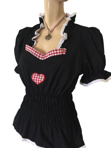 Trachten-bluse Dirndlbluse Damen Bluse Rüschen Spitze Schwarz Kurzarm Herz Rot