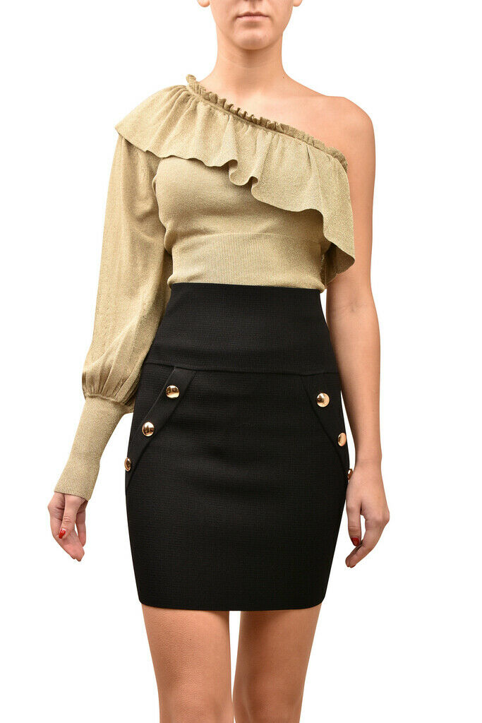 Ronny Kobo damen Sparkly Ruffle Bodysuit Slim One Shoulder Gold Größe XS