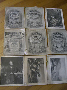 Demorest's Monthly Magazine (9 issues) w/ extra 1877-1880
