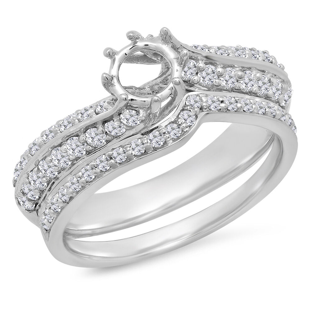 0.75 Carat 14k White gold Round Diamond Ladies Bridal Semi Mount Ring Set Size 6