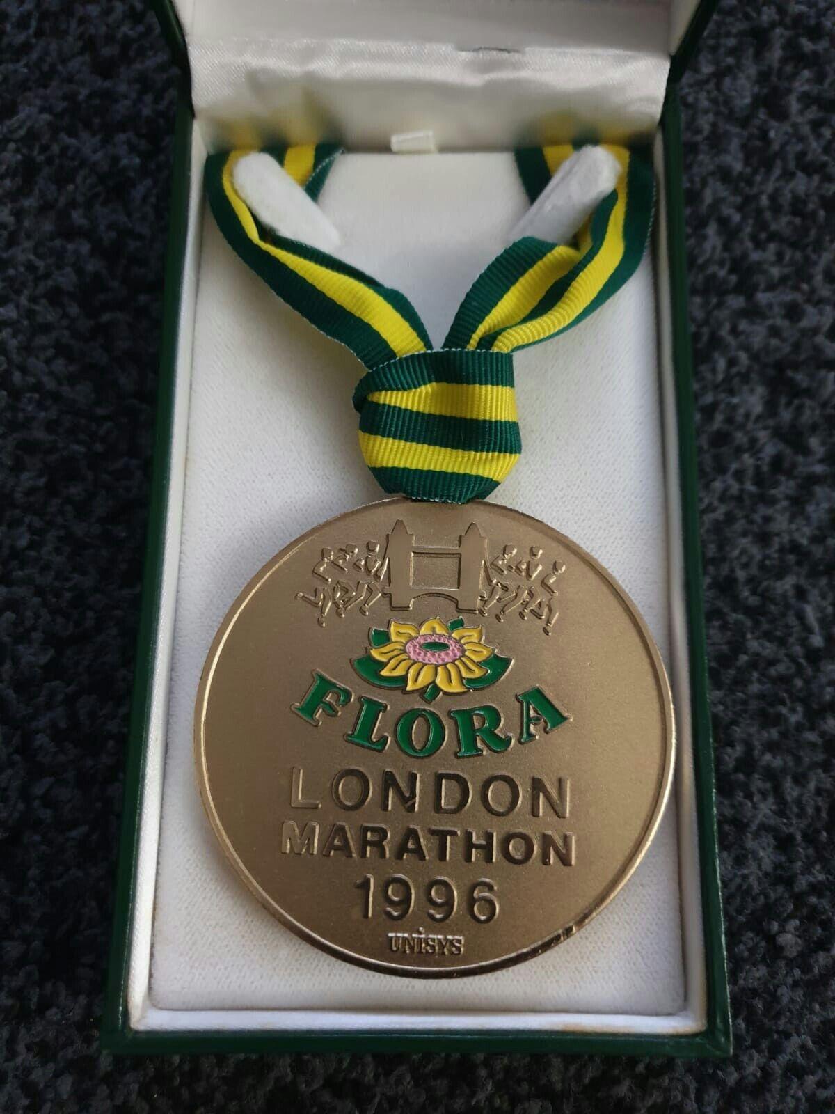 Flora original maratón de Londres 1996 ganadores medalla Raro tamaño más grande