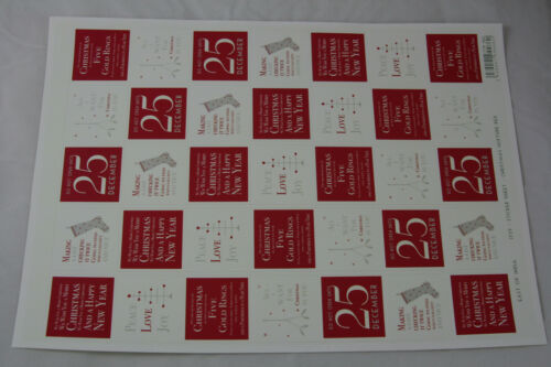 East of India Vintage Chic Christmas Card Envelope Stickers A4 Sheets Gift Wrap