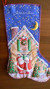 "Handmade Felt NORTH POLE WELCOME Christmas Stocking Santa ""AMANDA"" JCA New"