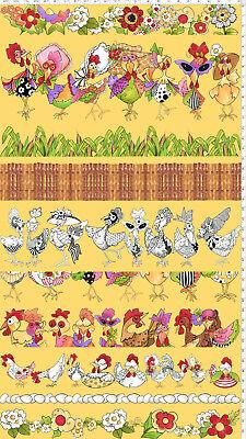 YARD Loralie Harris Chicken Rooster Toss Yellow Cotton Fabric Chicken Chique