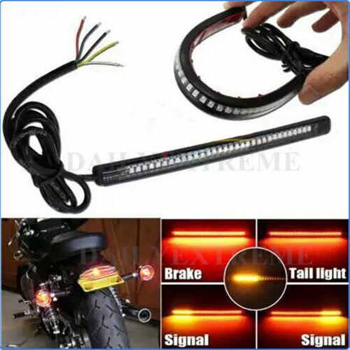32LED 8/'/' Flexible Motorcycle Integrated Tail Brake Stop Turn Signal Light Strip