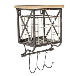wood wall shelf with wire basket 2 in 1 with 3 hooks shabby chic shelving ebay. Black Bedroom Furniture Sets. Home Design Ideas