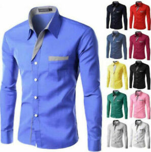 Business-Office-Work-Men-Casual-Stylish-Slim-Fit-Long-Sleeve-Shirt-Tops-Blouse