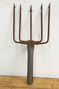 Antique Trident Fishing spear eel frog gig hand forged vintage tool nautical | eBay