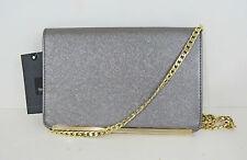 MOSSIMO Women's Envelope Clutch-Crossbody Metallic Silver Bag w. Chain Strap NWT