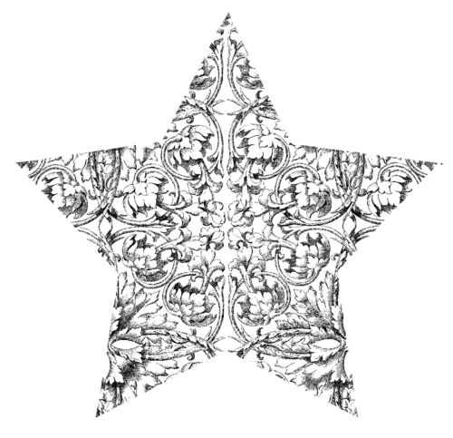 Mini Etched Star Unmounted Rubber Stamp SA7144
