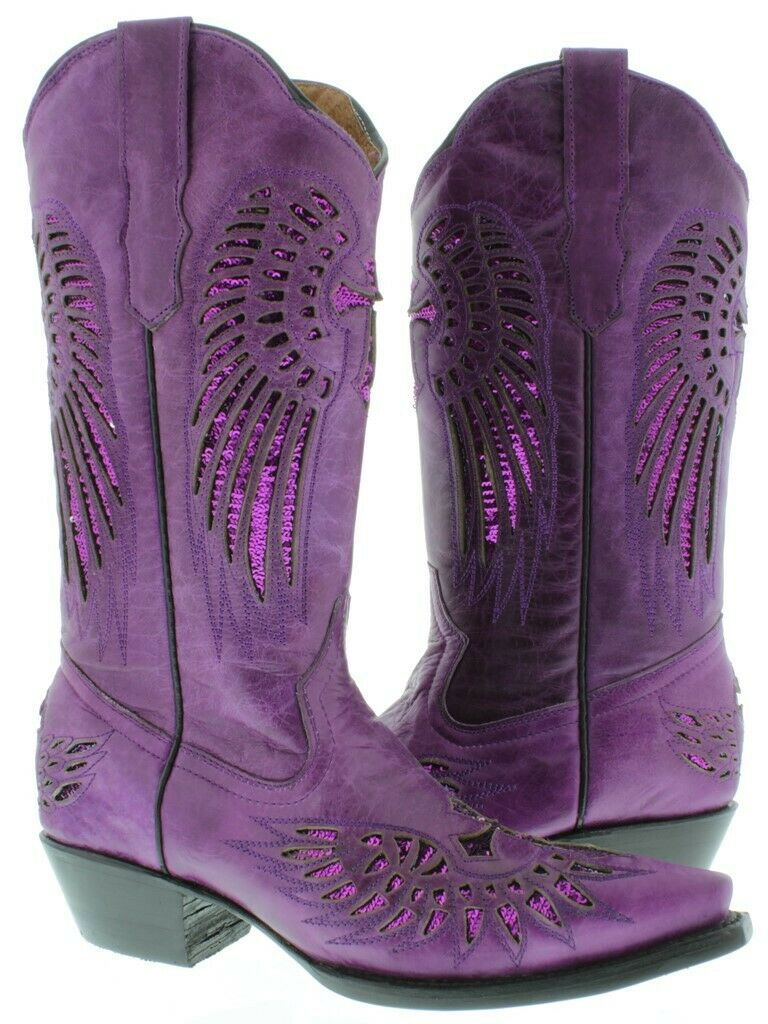 donna Cowboy stivali Cross  Wing viola Leather Inlay Sequins Snip Toe Dimensione 5.5  compra meglio