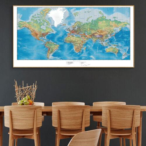 Silk Canvas Poster Globe Geography Ocean World Map Paint Wall Decor No Frame B11