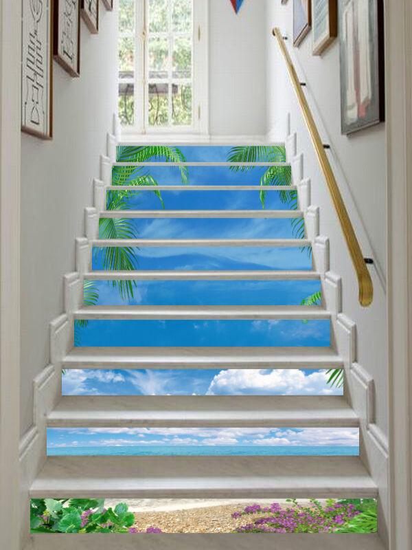 3D Strand Baum 4799 Stair Risers Dekoration Fototapete Vinyl Aufkleber Tapete DE