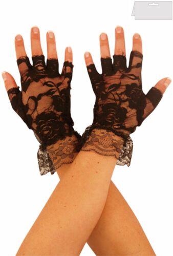 Black Short Lace Fingerless Gloves 80s Goth Ladies Halloween Fancy Dress Madonna