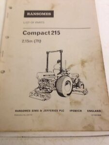 ransomes compact 215 gang mower parts book manual ebay rh ebay co uk Ransome Push Mower ransomes gang mower parts list