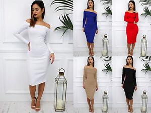 Glamzam-Nuevo-Para-Mujer-Damas-Fiesta-Lapiz-Del-Hombro-Bardot-Midi-Vestido-Cenido-Al-Cuerpo