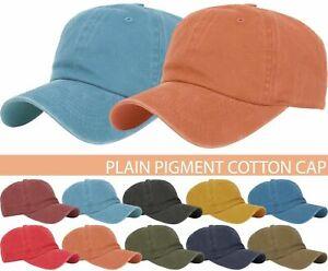 BASEBALL-CAP-Plain-Dad-Hat-Low-Profile-Vintage-Washed-Pigment-Adjustable