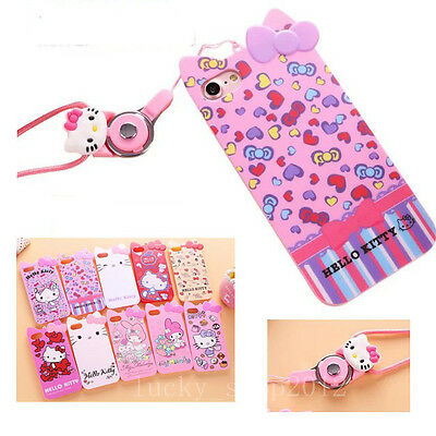 3D Cute Hello Kitty My Melody Soft Case Cover for iPhone 6 6S 7 Plus with Strap
