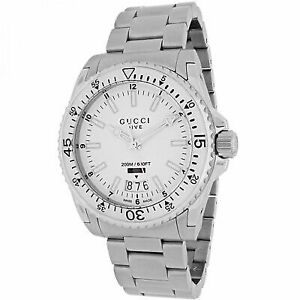 8cf4b8ce784 Gucci Dive White Dial Stainless Steel Men s Watch Item No. YA136302 ...